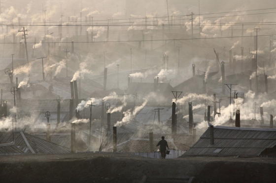Numerous chimneys in an industrial area of North Korea