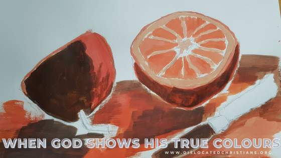 Unfinished acrylic painting of oranges: When God shows His true colours